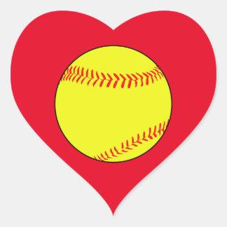 Custom Softball Heart Scrapbook Stickers