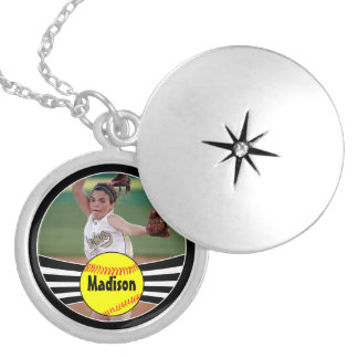 Custom Softball Photo & Text Pendant Necklace