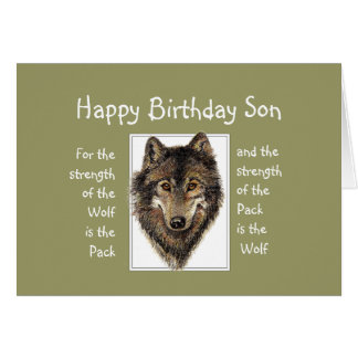 Custom Son Birthday Wolf Pack Family Quote Greeting Card