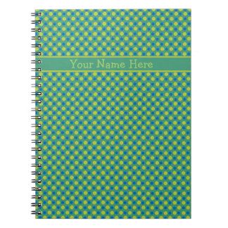 Custom Spiral Notebook, Blue and Green Polka Dots Notebook