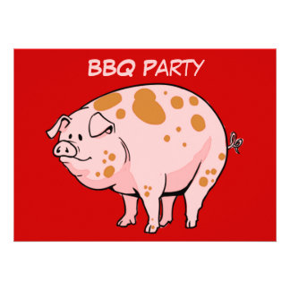 Custom Spotted Pig Red Pink BBQ Cookout Party Announcements