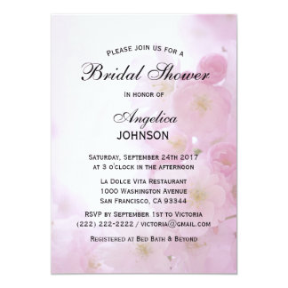 Custom Spring Pink Cherry Blossom Bridal Shower Card