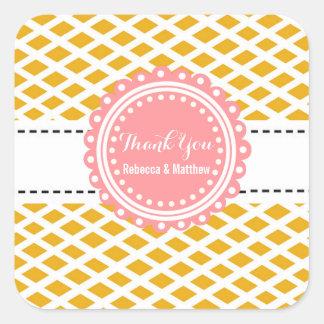 Custom Square Wedding Favor Thank You Stickers