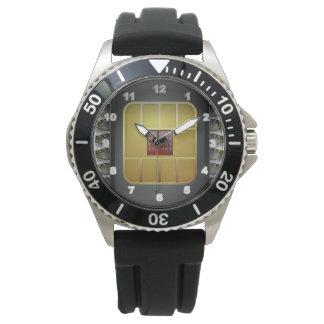 Custom Stainless Steel Black Rubber  men's watch