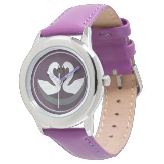 Custom Stainless Steel Purple LOVE SWANS Watches