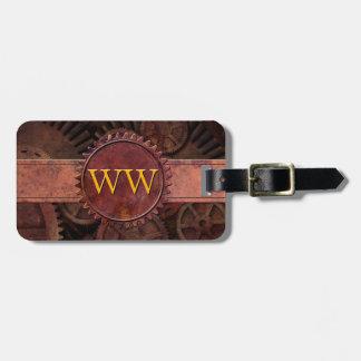 Custom Steampunk Gears Leather Luxury Monogram Luggage Tag