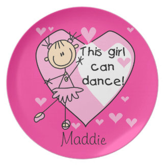 Custom Stick Figure Ballerina Kids Plate
