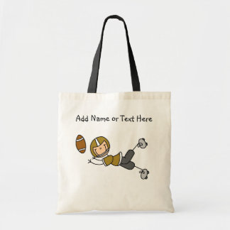 Custom Stick Figure Gold Football Player  Bag