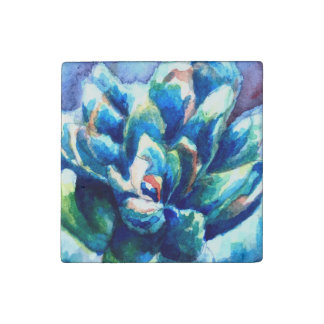 Custom Stone Magnet with Watercolor Succulent