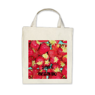 Custom Strawberries Organic Grocery Tote Bag