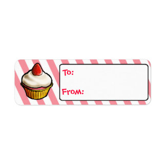 Custom Strawberry Cupcake Gift Tags Return Address Label