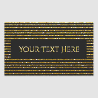 Custom Striped Glitter Look Rectangular Sticker