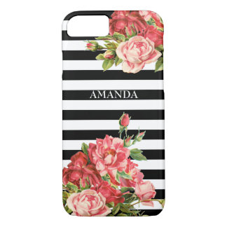 Custom stripes and roses iPhone 8/7 case