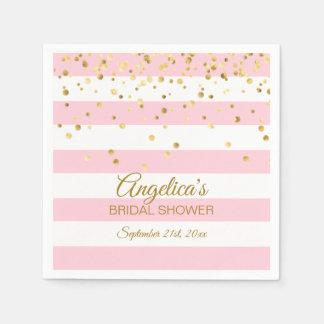 Custom Stripes Blush Pink Rose Gold Bridal Shower Paper Napkin