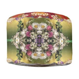 custom sturdy spun polyester round pouf