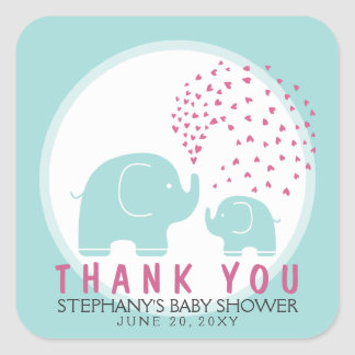 Custom Stylish Blue Elephants Thank You Stickers