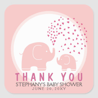 Custom Stylish Elephants Shower Thank You Stickers