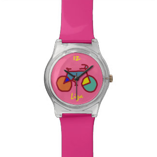 custom stylized color bicycle on pink wristwatch