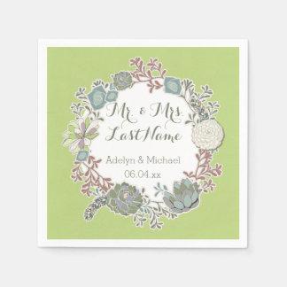 Custom Succulent Wreath Wedding Paper Napkins Disposable Serviette
