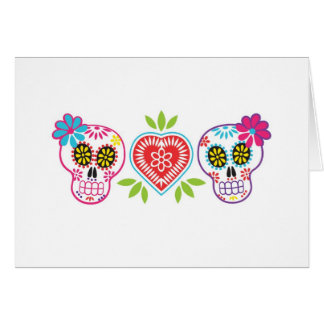Custom Sugar Skulls and Flowers Note Card