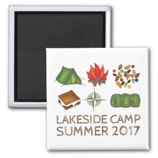 Custom Summer Camp Camping Tent Compass Magnet