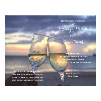 Custom Sunset On The Beach Wedding Programs Flyer