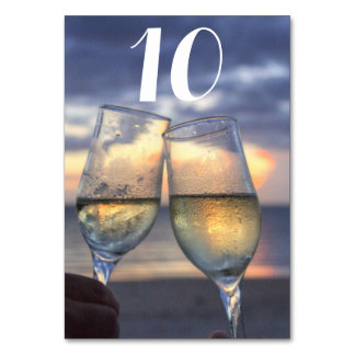 Custom Sunset On The Beach Wedding Table Numbers