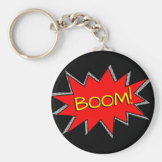 Custom Superhero Bomb Boom Sound Effect Template Basic Round Button Key Ring