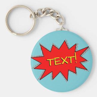 Custom Superhero Sound Effect Template Basic Round Button Key Ring