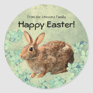 Custom Sweet Cute Happy Easter Pastel Bunny Floral Classic Round Sticker