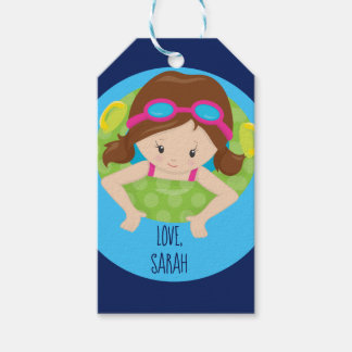 Custom Swim Girl Swimmer Gift Tags