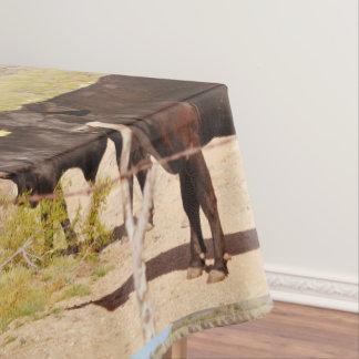 "Custom Table Cloth ""Brown Cows in Chrome"""
