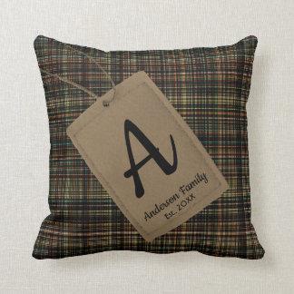 Custom tag with family name monogram plaid texture cushion