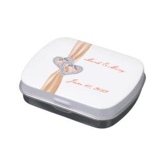 Custom Tangerine Hearts Wedding Candy Tin
