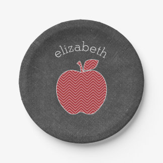 Custom Teacher Apple with Trendy Chevron Pattern 7 Inch Paper Plate
