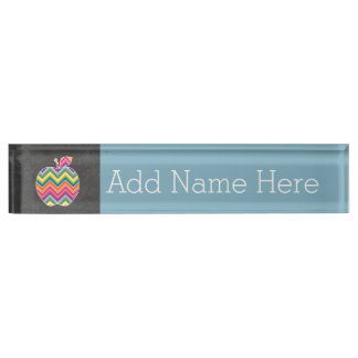 Custom Teacher Apple with Trendy Chevron Pattern Nameplate
