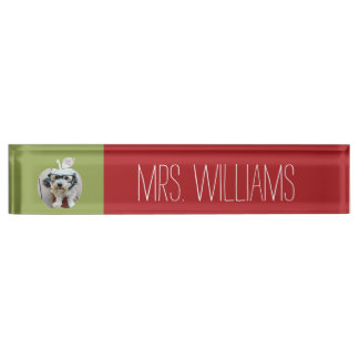 Custom Teacher Apple with Vertical Photo Nameplate