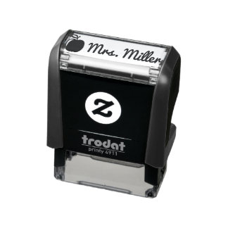 Custom teacher self inking stamp with name + apple