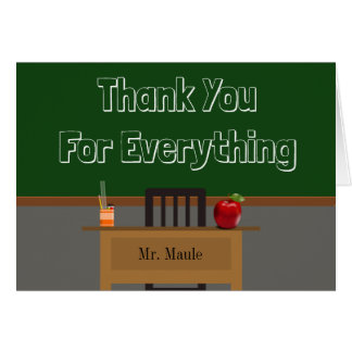 Custom Teacher Thank You Chalkboard Card