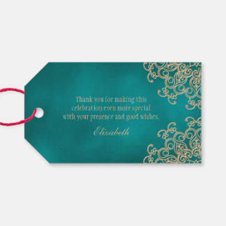Custom Teal and Gold Indian Style Thank You Gift Tags