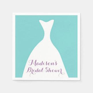 Custom Teal Gown Bridal Shower Napkins Disposable Serviettes