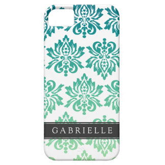 Custom Teal Turquoise Damask Barely There iPhone 5 Case