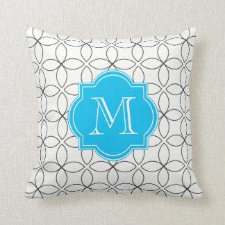 Custom Teal/White/Black Monogram Pillow Cushion
