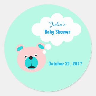 Custom Teddy Bear Baby Shower Sticker Tags