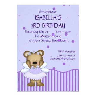 Custom Teddy Bear Blue Fairy Princess 13 Cm X 18 Cm Invitation Card
