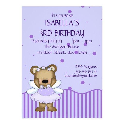 Custom Teddy Bear Blue Fairy Princess Custom Announcement
