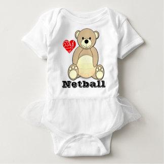 Custom Teddy Bear Print Love Netball Baby Bodysuit