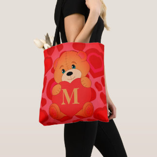 Custom teddy bear tote bag
