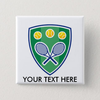Custom tennis gift for club or tournament 15 cm square badge