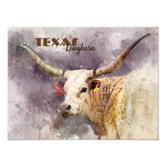 Custom Texas Longhorn Watercolor Photo Modern